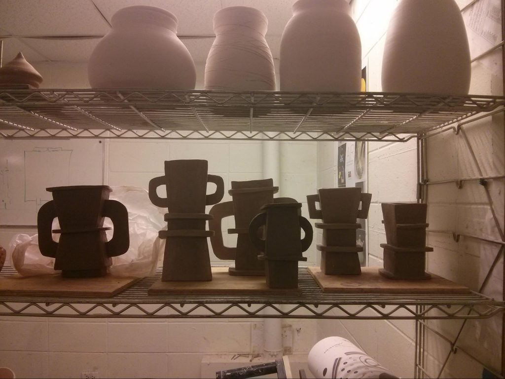 Greenware in the ceramics studio