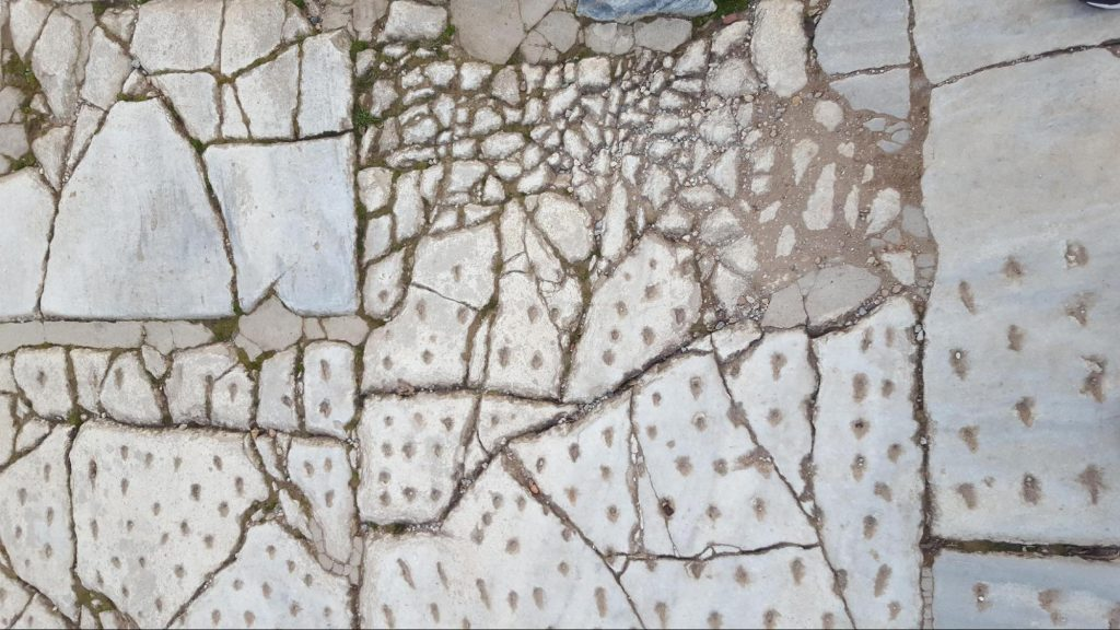 Cracked floor tiles in Ephesus, Turkey