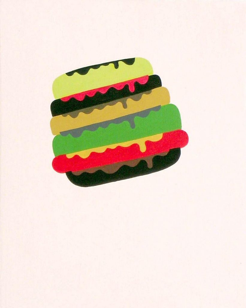 "Hamburger, 6"" x 7"" x 1.5"", acrylic on wood panel, 2003"